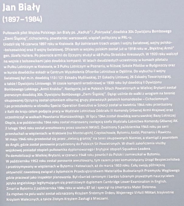 Opis z pamiątkowej tablicy znajdującej się przy ul. płk Jana Białego w Bytomiu